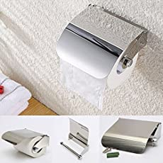 A-ONE Toilet Tissue Paper Roll Holder/Dispenser with Lid Combo Pack of 2