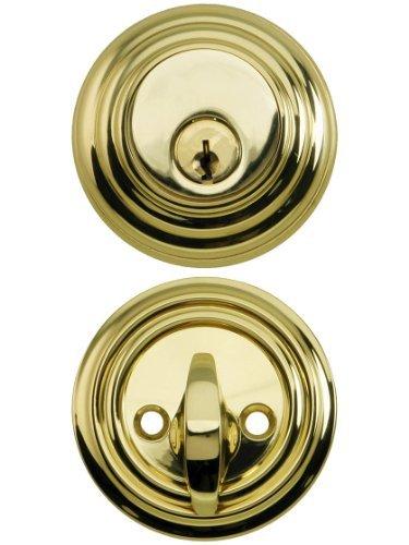 Solid Brass Single Cylinder Low Profile Deadbolt Polished Brass With 2 3/8 Backset. Mortise Lock Parts. by Emtek -