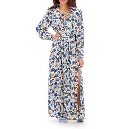 La Modeuse - Robe longue femme imprimé floral dotée defentes latérales Beige