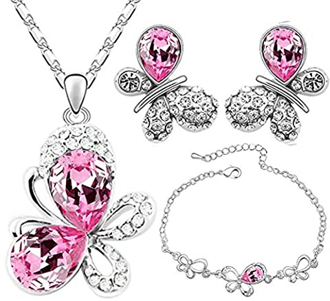SaySure - 18KGP Austrian Crystal Butterfly Pendant necklace earrings