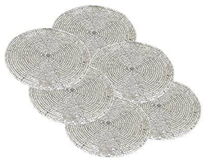 Set of 6 - Handmade Glass Beaded Coaster for Christmas Silver - Home Furnishing Coaster Bar Table - Dia 10.2 CM