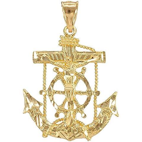 Donne Collana Pendente 10 Ct Giallo Oro Marinaio Crocifisso Croce Ancora (Viene Fornito Con Una Catena Da 45cm)