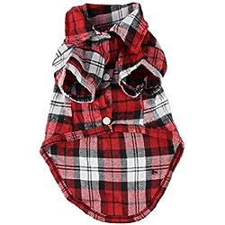 Tongshi Venta caliente para mascotas cachorro de perro Ropa Camisa linda (rojo, XS)
