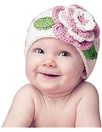 Feng Warm Strick Mütze mit großer Blume für Baby rosa weiß