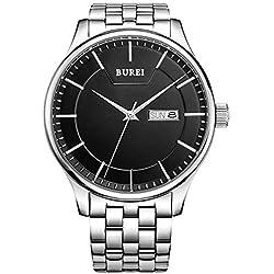 Burei Herren Armbanduhr schwarz mit Edelstahlarmband SM-13001-P51EY