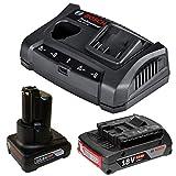 Bosch Schnellladegerät GAX 18V-30 + 1x Akku GBA 10,8V 4,0Ah + 1x Akku 18V 2,0Ah