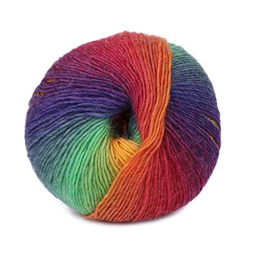 Senoow 50g / 1 Ball handgewebte Regenbogen Bunte h鋕eln Kaschmir Wolle Mischung h鋕eln Stricken Garn (#012)