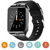CanMixs Smartwatch DZ09 Bluetooth 3,0 Mutifunktionale Armbanduhr, unterstützt Sim & TF-Karte, mit Kamera Schrittzähler Anti-Lost Tracker Stoppuhr Nachricht Kalender für Android Phones(schwarz)