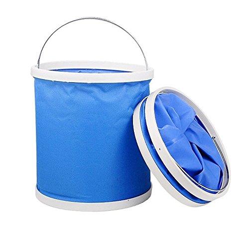 11L Kapazität Mehrzweck versenkbare blau zusammenklappbar Eimer Autowäsche und gewöhnlicher Hausgebrauch - ideal für Outdoor-Aktivitäten: Camping, Angeln, Wandern - flexibel - leicht zu verstauen
