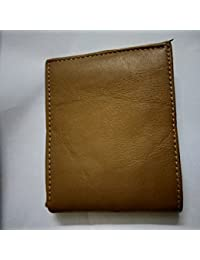 Casual 100% Pure Leather Leather Bifold Multi Compartment Wallets For Men, Color : BROWN(PLAIN TEXTURE)