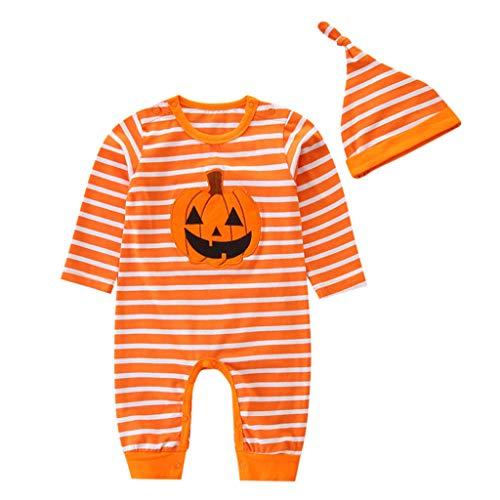 ungen Mädchen Jumpsuit +Hat Trainingsanzug Outfits Set Halloween Kleidung 3-24Month Säuglings Kleinkind Langer Hülsen-Kürbis-Spielanzug-Hut mit Gestreifter Pant Kostüm ()