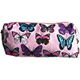 Pink Butterfly Design Canvas Pencil Case Make-up Brushes