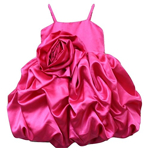 Pink Wings Satin Infant Frock (Magenta, 3-6 Months)