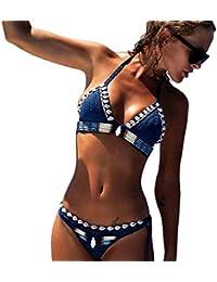 Bikini Trajes de baño Mujer, Manadlian Bohemio Ropa de playa Set de Bikini de punto hecho a mano de mujer Traje de baño sujetador traje de baño (M, Azul)