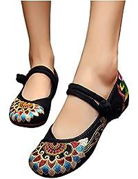 Zapatos de mujer nuevos zapatos bordados damas solos zapatos retro, negro / rojo , black , 5 UK/7.5 US/39 EU/40 CN