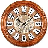 Europäische Stille Wanduhr/Wohnzimmer Farbe Schale solide Holz Uhr/ Schlafzimmer wenn sie anschauen-B 24Zoll