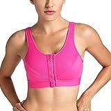 SYROKAN Damen High Impact Sport BH - Reißverschluss,Ohne Bügel Und Einlagen Hot Pink 85C(38C)