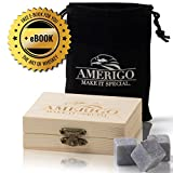 Premium Whisky Stones Set da Amerigo - Annacquare il tuo whisky? Mai più! Set di 9 Whisky pietre. Confezionate in un esclusivo set in legno -Whisky Rocks Gift Set - Pietre per sorseggiare - Borsetta di velluto in regalo - Whiskey Stones