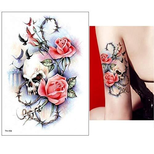 Lecoolz, tatuaggio temporaneo con teschio e rose, design temporary klebetattoo