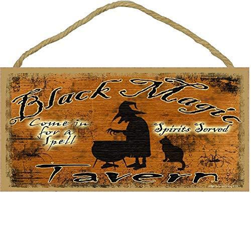 gic Tavern Come in for a Spell Hexe Black Cat Halloween Schild Schild Bad Decor 12,7 x 25,4 cm ()