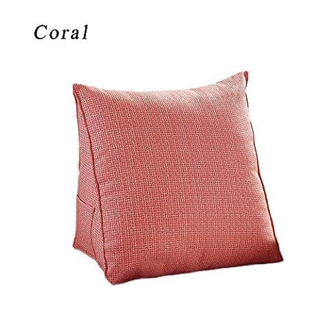 CoCogirls Sommer Lendenkissen Triangle Sofa-Kissen Fügen Sie das Kissen einfügen Creative bequemer Stuhl Bett Rückenlehne Sofa Sitz (S, Coral)