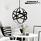 Industrial Spherical Pendant Light, KINGSO Dimmable Globe Hanging Lamp Antique Sphere Chandelier Light Black Ceiling Light Fixture For Kitchen Hallway Porch Dining Room Entryway Bedroom With VDE CE Ce