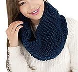 TININNA Caldo Inverno grosso Infinity Snood maglia Sciarpa Circle Sciarpe per le donne signore delle ragazze Profondo blu