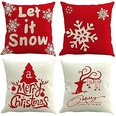 samLIKE 4 STÜCK Frohe Weihnachten Cover Decor Kissenbezug Sofa Taille Wurf Kissenbezug von samLIKE - Gartenmöbel von Du und Dein Garten