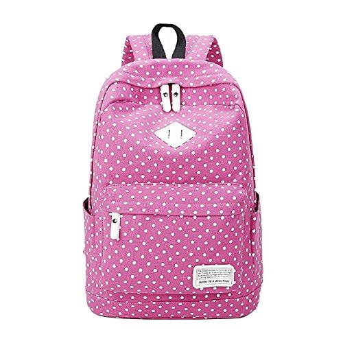 MAIBU Beiläufige Segeltuch -Schule-Rucksack-Laptop-Beutel-Schulter-Beutel-Rucksack-Reisen Daypack Dot-rose rot