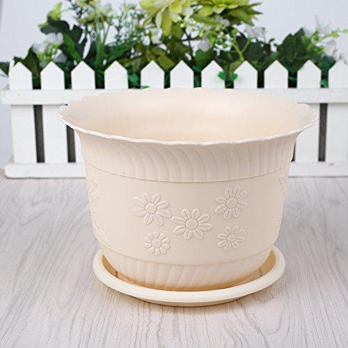 Kicode Das Einpflanzen Gloss Wave-Blumentopf PP-Harz Pflanze Planter Saucer Tablett Haus Dekor (Haus Dekor Im Freien)