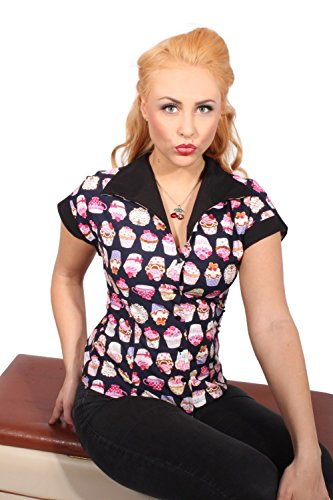 50s DINER Style Muffin PIN UP retro rockabilly Cupcake Hemd Bluse -