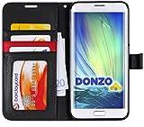 DONZO Tasche Handyhülle Cover Case für das Samsung Galaxy S6 Edge Plus in Schwarz Wallet Structure als Etui seitlich aufklappbar im Book-Style mit Kartenfach nutzbar als Geldbörse