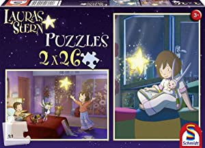 Schmidt Spiele 55570 Lauras Stern - Set de 2 Puzzles de 26 Piezas diseño La casa de Laura