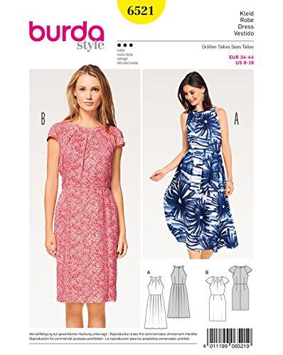 Burda 6521 Schnittmuster Kleid mit Ausschnittblende und Raglanärmel (Damen, Gr. 34-44) Level 3...