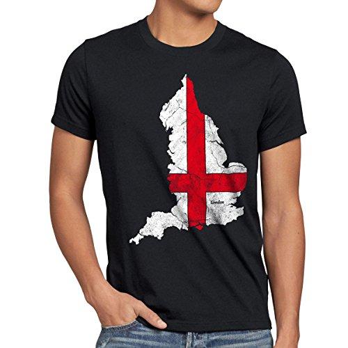 style3 England Herren T-Shirt großbritannien London Flagge, Größe:XL;Farbe:Schwarz