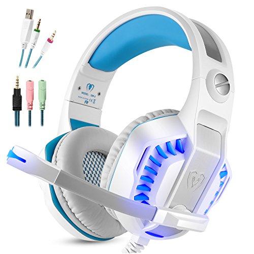 Gaming Headset Micolindun Mikrofon PC Kopfhörer Gamer mit Mic 3.5mm Bass Stereo Lautstärkeregler LED für PC, Laptop, Tablet und Smartphone, PS4 (Splitter Adapter enthalten)