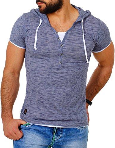 Carisma Herren double Look T-Shirt mit Kapuze slimfit Kontrast meliert 2in1 Optik , Grösse:S;Farbe:Dunkelblau (Doppel-kapuze)