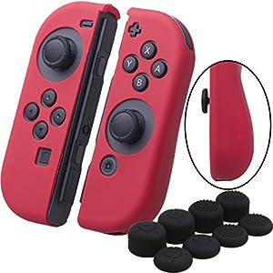 YoRHa Handgriff Silikon Hülle Abdeckungs Haut Kasten für Nintendo Switch/NS/NX Joy-Con controller x 2 (rot) Mit Joy-Con aufsätze thumb grips x 8