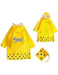 GIM Chubasquero infantil resistente al agua lluvia poncho chubasquero impermeable protección contra la intemperie para niñas y niños unisex 3-12años