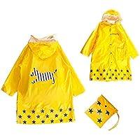 GIM Chubasquero infantil resistente al agua lluvia poncho chubasquero impermeable protección contra la intemperie para niñas y niños unisex 3-12 años (Large, Amarillo)