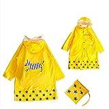 GIM Bambini Pioggia Cappotto Unisex Impermeabile Coprizaino Poncho Giacca Protezione con cappuccio per Ragazze & Ragazzi 3 - 12 anni (Giallo,M)