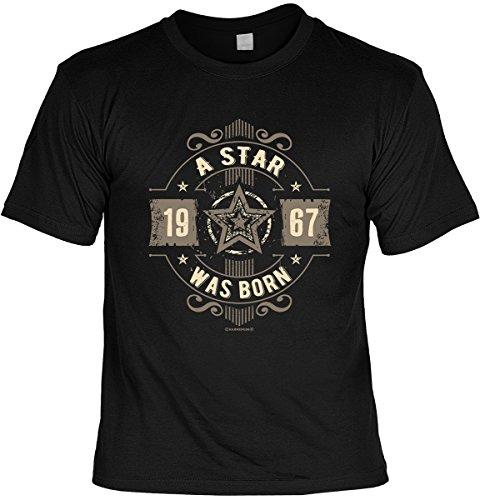 Geburtstag T-Shirt 50 Jahre - A Star was born 1967 Shirt 4 Heroes bedruckt Geschenk Set mit Mini Flaschenshirt Schwarz