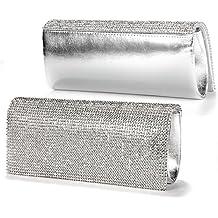 Anladia - Bolso de Fiesta Boda del Pie sintético con Diamantes Brillante Color Plateado