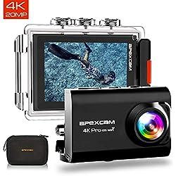 [2019 Nouvelle] Apexcam Pro EIS Caméra Sport 4K 20MP WiFi 170 ° Grand-Angle Action Caméra 40M Caméra Etanche Externe Mic 2.0 '' LCD HD Ecran 2.4G Télécommande 2 Piles Rechargeables et Accessoires