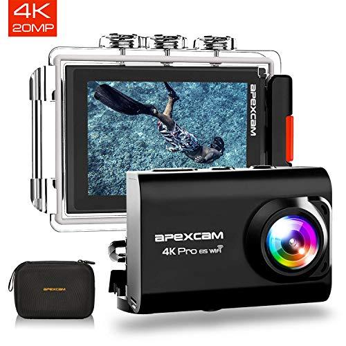 Apexcam Cámara deportiva M80 Pro:Capture con precisión cada visión épica y momentos emocionantes11 Caracteristicas:📷4K HD y 20MP4K: 3840*2160 30 FPS; 4K: 3200 * 1800 30FPS(EIS); 2.7K: 2560 * 1440 30FPS(EIS)Resolución de la foto: 20MP / 16MP / 12MP...