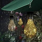 Upxiang Solar Glühbirne mit hängendem Haken, Solar drehbare Garten LED Licht Lampe Birne, wasserdicht Outdoor Garten Camping Hängelampe Birne, Weihnachten Garten-im Freiendekor (Gold)