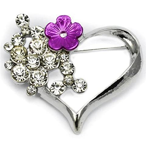 Elixir77UK Silver Colour Heart With Purple Flower Love Gift Pin Brooch With Plain Crystals