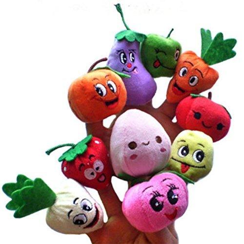 cooplay 10x dibujos animados sonriente Frutas Verduras marioneta de dedo niños bebé de peluche hecho a mano juguete