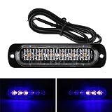 Demiawaking 12-24V 6LED Lampeggiante Emergenza Luce Stroboscopica d'avvertimento del Veicolo dell'automobile Barra Luminosa Flash Sottile per Moto Auto Camion (Blu)