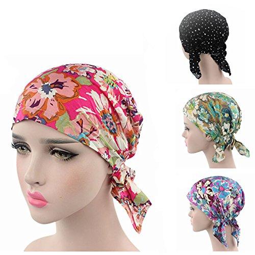 Ever Fairy Pre Tied Head Scarf Hat Ethnic Print Turban Headwear Women Stretch Flower Muslim Headscarf